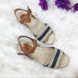 Coach Reena Navy Cream Stripe Flat Sandals